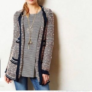 Anthropologie Knit Boucle Open Fringe Long Cardiga